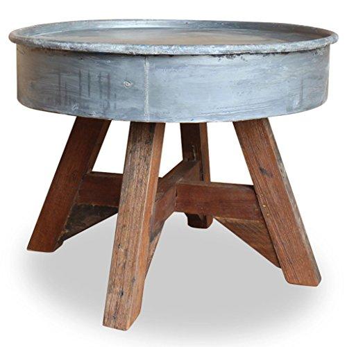 Festnight Tavolino da caffè Taolino da Salotto Rotondo Vintage in Legno Massello Recuperato e Acciaio,Tavolino da Giardino Esterno Rotondo Vintage in Legno e Metallo 60x45 cm