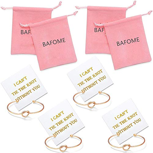 I Can't Tie The Knot Without You Bridesmaid Bangle Rose Gold Bracelets With Card-Set of 1,4,5,6,10 Rose gold 4 set