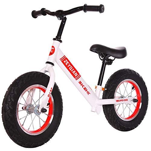 Learning Training Balancen-Fahrrad-Kinder Balancen-Fahrrad Erstes Fahrrad Aufblasbare Reifen, No-Pedal Wandern Bike for Kinder Kleinkinder 2 bis 6 Jahre, Schwarz (Farbe: weiß) Zixin