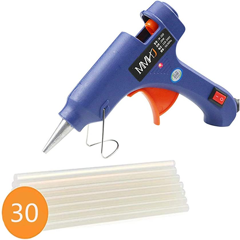 UPZHIJI Mini Hot Melt Glue Gun with 30pcs Glue Sticks, DIY Small Craft Projects & Sealing and Quick Daily Repairs 20-watt,Blue
