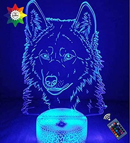 Creativo 3D Wolf Night Light 16 Colores Que Cambian Usb Power Control Remoto Interruptor Táctil Lámpara De Decoración Lámpara De Ilusión Óptica Lámpara De Escritorio De Mesa Led Regalo Cumpleaños