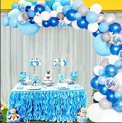 Kit De Guirnalda De Globos Arco, Longitud 132 Piezas Azul Blanco Plateado Gris Juego De Globos, Utilizado Para Suministros De Fiesta De Cumpleaños, Baby Shower, Boda 22*17.5*6cm azul