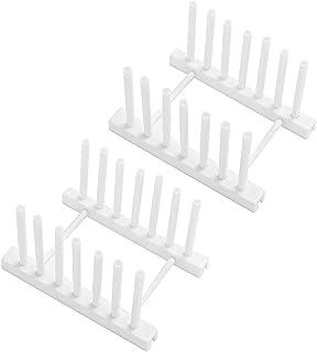 Organizador de platos de plástico ABS, soporte para tapa de olla, escurridor de secado, organizador de gabinete de cocina, para tazas, tabla de cortar, tapa de olla y más blanco