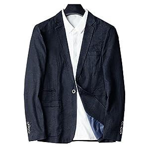 サマージャケット メンズ 麻 カジュアル リネン100% 薄手 夏 ビジネス 大きいサイズ,L,写真