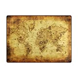 ALAZA My Daily Vintage World Map Area Rug 4'10' x 6'8', Living Room Bedroom Kitchen Decorative Lightweight Foam Printed Rug