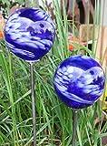 2er Set Rosenkugel Gartenstecker Glaskugel Gartendeko Gartendekoration Handarbeit Rankstab...