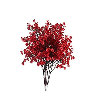 LISENNER 6PCS Baby Breath Flowers Bush Artificial Gypsophila Silk Real Touch Blooms for Wedding Garden Home Party DIY Decoration Arrangements(Red)