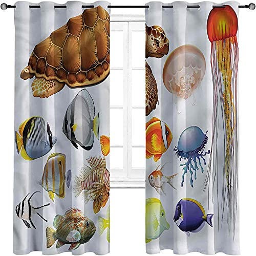 Cortinas opacas para dormitorio de acuario, medusas de tortuga para sala de estar o dormitorio de 52 x 84 pulgadas