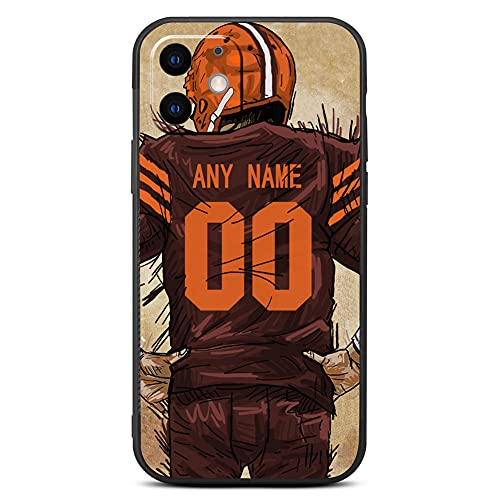 Custom Football Jersey Phone Case for iPhone 12/12 Pro and iPhone 12 Pro Max 2020 - Customize Phone Case for Your Name and Number(Cleveland Orange)