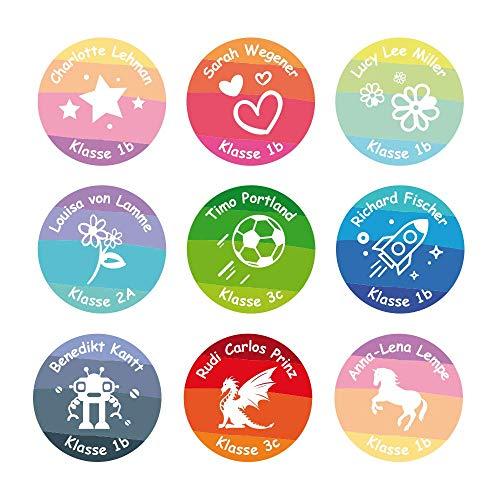 foliado® Namensaufkleber Kinder rund Etikett 35x35mm Sticker Namensetikett Schule Kita Kleidung personalisierte Klebeetiketten wasserfest (60 Stück) APD-006