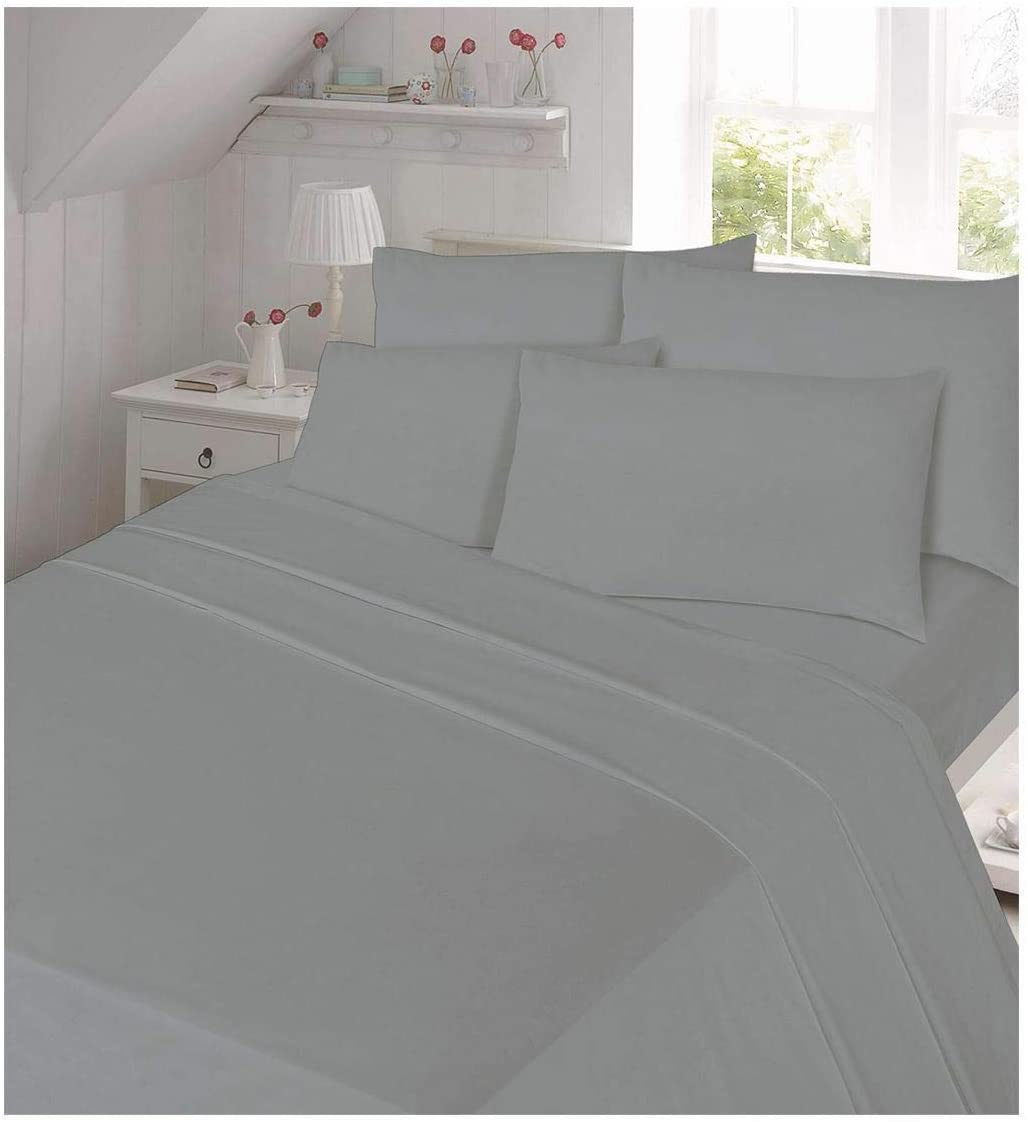 Islander Fashions New 100/% Brushed Cotton Soft Flannelette Flat Sheet with Pillow Cases Black Double Size
