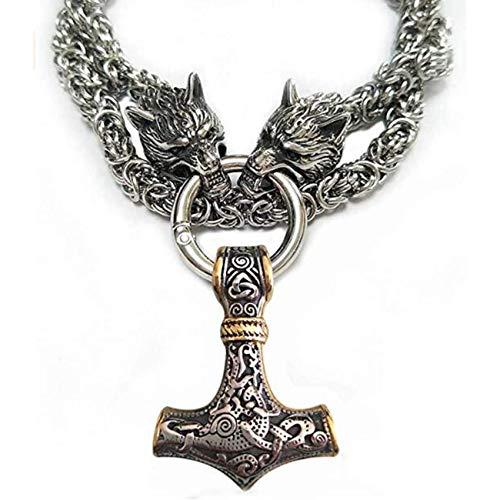 ZXCWE Collar Vikingo De Martillo Thor para Hombre, Collar con Colgante De Martillo Nórdico Vikingo Retro, Joyería, Cabeza De Lobo De Acero Inoxidable