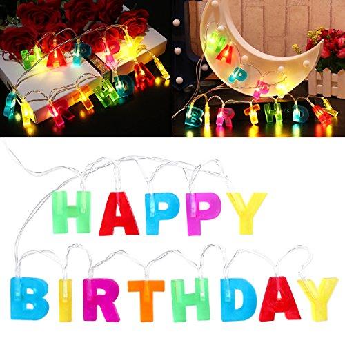 LEDMOMO Happy Birthday Lights Lichterkette mit 13 LEDs, batteriebetrieben, für den Innenbereich, Weihnachten, Geburtstag, Party, mehrfarbig