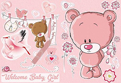 AM Wohnideen wandsticker, zelfklevend, wandstickers, babykamer, kinderkamer, fotobehang, sticker, Welcome, babymeisje, kinderkamer