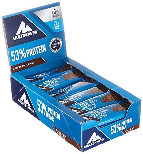 Multipower 53% Protein Bar – 24 x 50 g Eiweißriegel Box – Schoko – Fitnessriegel mit 53 % hochwertigem Protein – 27 g Eiweiß pro Proteinriegel