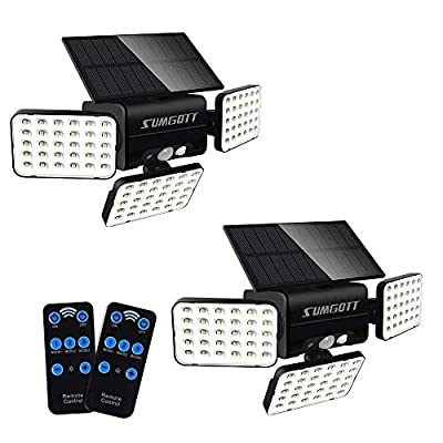 SUMGOTT Solar Lights Outdoor Remote Control, 3 Head Security Lights with Motion Sensor, 90LED Flood Light Dimmable, 360° Rotatable Spotlights IP65 Waterproof for Porch Garden Patio Yard Garage (2PCS)