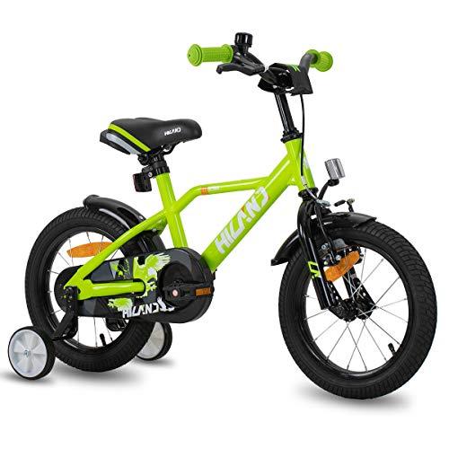 HILAND Adler 14 Zoll Kinderfahrrad für Jungen 3-6 Jahre mit Stützrädern, Handbremse und Rücktritt Grun