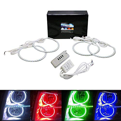 iJDMTOY 7-Color RGB LED Halo Ring Headlight Kit with Wireless Remote For 2007-2014 GMC Sierra Chevrolet Silverado Truck