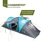 skandika Hammerfest 6 Protect - Tente dôme familiale - 6 personnes - 620 x 220cm - bleu/bleu foncé