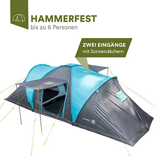 skandika Hammerfest 6 Protect Kuppelzelt mit eingenähtem Zeltboden für 6 Personen, 2 Schlafkabinen, Moskitonetze, Organisationstaschen, Lampenhaken, 2.000 mm Wassersäule