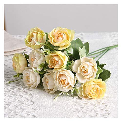 JUNQIAOMY Flores artificiales 10 cabezas de flores de seda artificiales peonía pequeña cabeza ramo DIY boda decoración del hogar (color: amarillo)