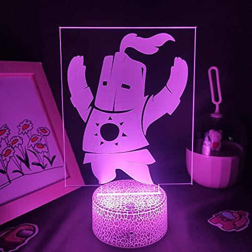 Lámpara De Ilusión 3D Luz De Noche Led Lava Loves Dark Souls Figura De Juego Solaire Astora Rgb Batería Táctil Sala De Juegos Lámpara De Mesa Decoración Colorida