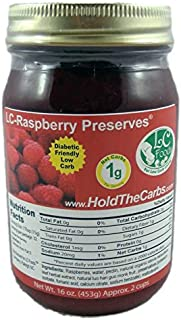 Low Carb Raspberry Preserves - LC Foods - All Natural - No Sugar Added - Paleo - Gluten Free - Diabetic Friendly - Low Carb Jam - 16 oz