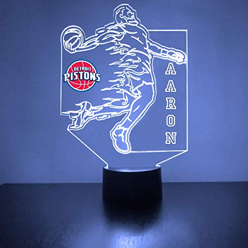 Pistons (Detroit) Basketball Sports Fan Lamp/Night Light - LED - Personalize for Free - Featuring Licensed Decal