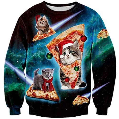 Loveternal Unisexo Pizza Cat Jersey Navideño 3D Ugly Christmas Sweater Feo Manga Larga Gato Xmas Pullover XXL
