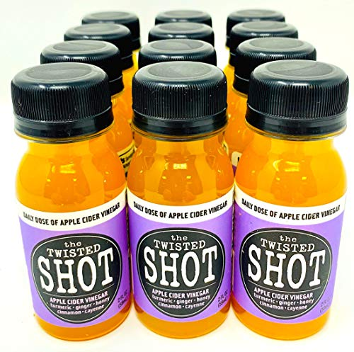 The Twisted Shot | Apple Cider Vinegar Shots with Turmeric, Ginger, Cinnamon, Honey & Cayenne | 12-Pack of 2oz Shots
