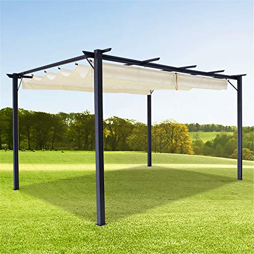 Outdoor Waterproof Retractable Pergola Awning Slide on Wire Shade, Pergola for Deck Patio Backyard