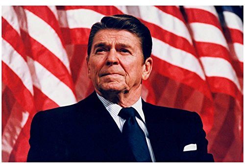 President Ronald Reagan (American Flag) Art Poster Print 19 x 13in with Poster Hanger