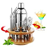 Unizooke Cocktail Shakers Set 13 Teilig Mit Cocktail Rezept, 360 Grad Drehbarer Bambus Basis, Professionell Cocktail Zubehör Set, 750 ML Cocktailshaker für Zuhause, Küche, Bar
