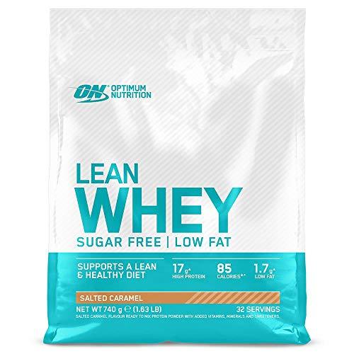 Optimum Nutrition Lean Whey, Proteínas en Polvo Sin Azúcar con Vitaminas y Minerales, Bajo en Grasas, Caramelo Salado, 32 Porciones, 740 g, el Envase Puede Variar