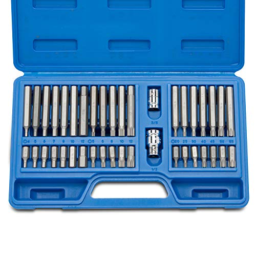 Neiko 10280B Combination Hex, Torx, and XZN Triple Square Driver Socket Bit Set | 40-Piece Set