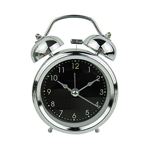PHOEWON Retro Alarm Klok Twin Bell Stille Alarm Klok Niet-tikken Sweep nachtkastje Batterij Bediende Reisklok met Nacht Licht, Luid Alarm