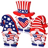 HIYZI Patriotic Table Wooden Signs Gnomes Wood Signs 4th of July Tiered Tray Decoration for Memorial Day Independence Day Desk Office Home Party Decoration (Classic Style 1)
