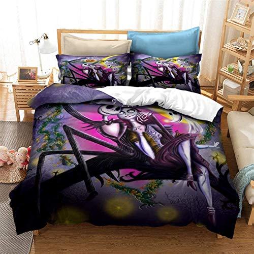 Conjunto de ropa de cama 3D cubierta de edredón, La pesadilla antes de Navidad Anime Set de ropa de cama para niños - Funda de edredón y funda de almohada Microfibra 3D Impresión digital de 3 piezas R