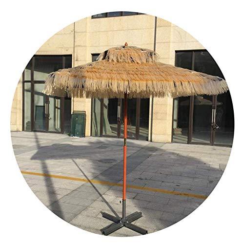 FWZJ Ombrellone da Giardino in Paglia con Stecche in Legno massello Palapa Tropicale Capanna in Rafia Ombrellone da Spiaggia Hawaiano Hula (6Ft, Naturale)