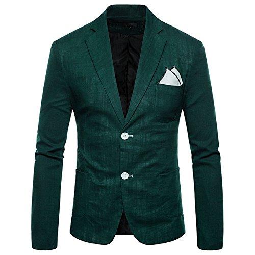 INVACHI Loose fit - Giacca da uomo in lino con due bottoni per il tempo libero verde scuro L