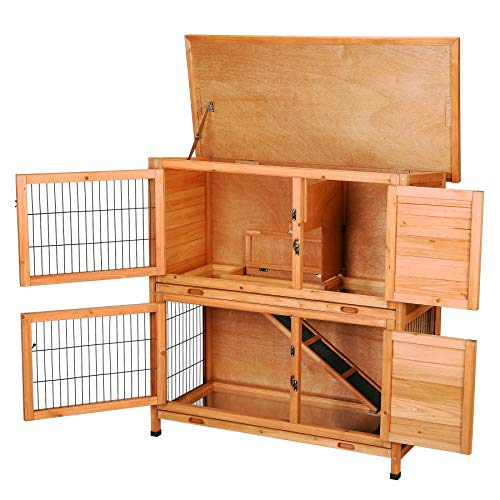 CO-Z 2 Story Wooden Rabbit Hutch, Guinea Pig Cage, Bunny House, Duck Coop, Wooden Indoor/Outdoor Hideout Enclosure, Outside Pet House for Small Animals