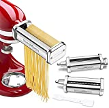 Pasta Maker Attachment Set for KitchenAid Stand Mixers,Stainless Steel Pasta Sheet Roller,Spaghetti & Fettuccine Cutters Accessories plus Dough Scraper as Gift