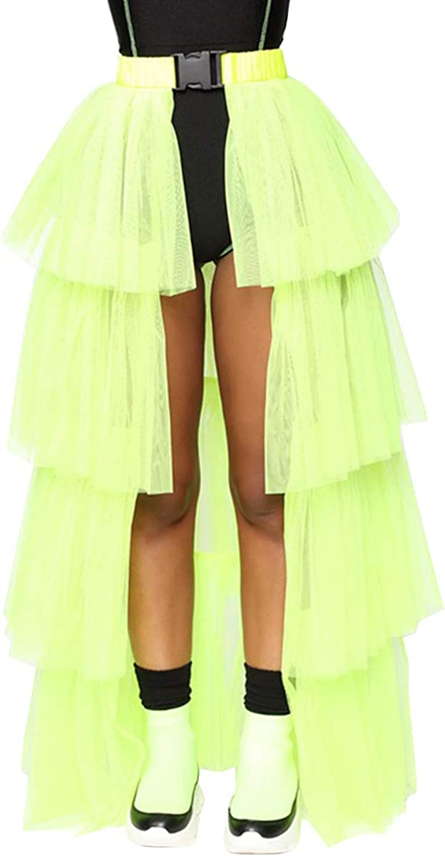WDPL Women's Layers of Buckle Belt Slit High Waisted Evening Night Out Tulle Skirt