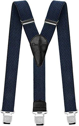 Decalen Hosenträger für Herren breit extra starken Clips Y Form Lang Eine Größe Passt Alle Männer und Damen Verschiedenen Farben (Blau)