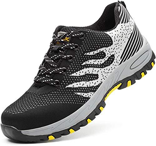 GUFANSI Zapatos de seguridad, ligeros, Kevlar, para hombres y mujeres, zapatos de trabajo, puntera de acero, transpirables, zapatillas de proteccion, Negro y Gris, 43 EU