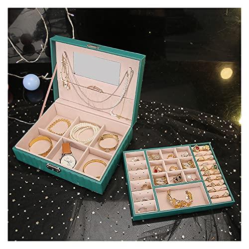 LAIQIAN Organizador Travel Jewelry Box Organizer Bandeja De Cuero Joyería Mostrar Caja De Almacenamiento Dé A Esposa (Color : Green Large Inner Box)