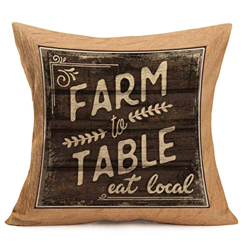 Funda Almohada Granja rústica Vintage Farm to Table Eat Local Quotes Fundas Almohada Funda cojín Cuadrado 18 x 18 Pulgadas (VQ01)