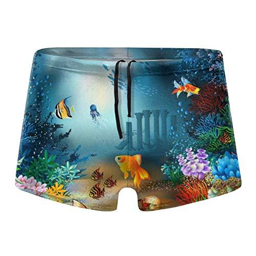 Zhengzho Herren Boxer Badebekleidung, Goldfish Basic Cosy Brief Badeanzug, bequem Bedruckte Beach Surf Badehose Größe XXL