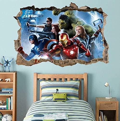 LCFF Pegatinas de Pared Superhéroe 3D Etiqueta de la Pared Avengers Wall Murales Decoraciones de la Pared Decoraciones de la Pared 60x90cm Fondo de Pantalla de Vinilo Decoración de la Pared