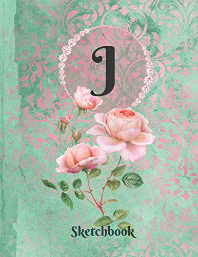 Basics Sketchbook For Drawing - Personalized Monogrammed Letter J: Framed White Pages Drawing Notebook of Green and Pink Damask Lace with Roses on Glossy Cover